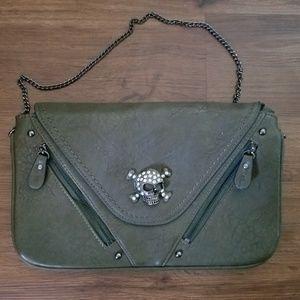 Melie Bianco Olive Green Handbag With Skull Detail